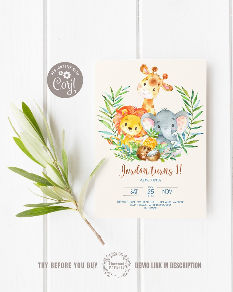 Jungle Birthday Invitations - These invitations are easy to edit. Try a demo today!