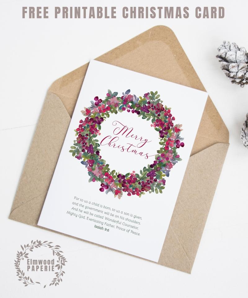 FREE Wild Berries Christmas Card Printable by Elmwood Paperie