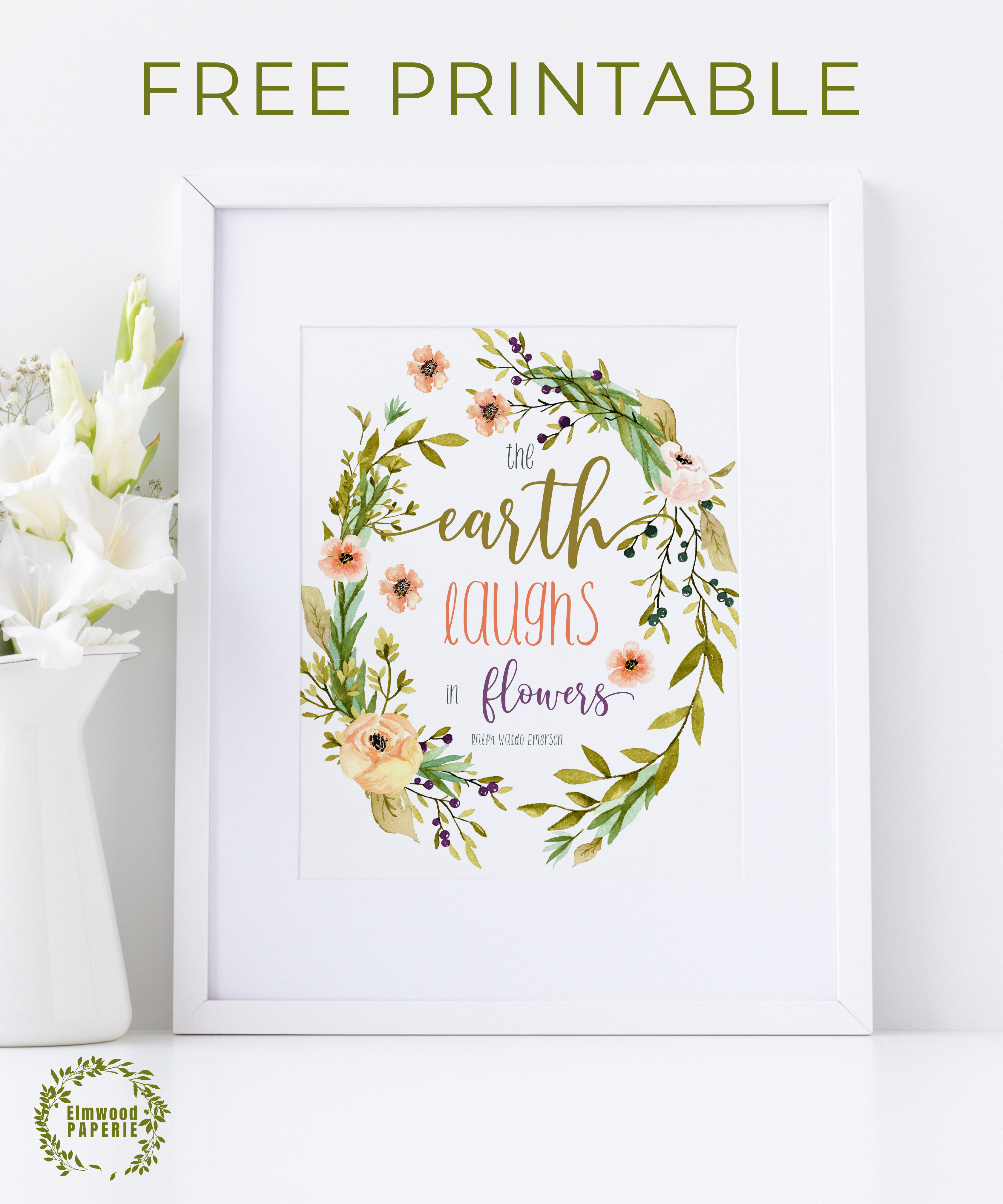 picture regarding Free Printable Wall Art Flowers identified as Totally free Elmwood Paperie