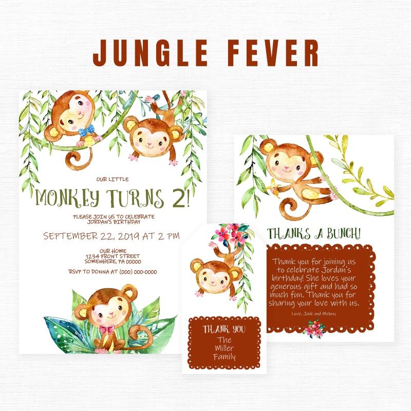 Jungle Birthday Invitations featuring fun little monkeys!